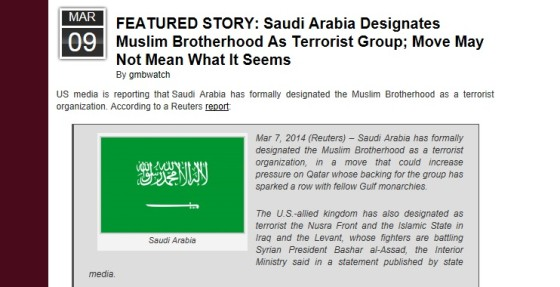 SAUDI ARABIA BRANDS MUSLIM BROTHERHOOD TERRORIST GROUP